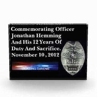Police Officer's Customizable Acrylic Duty Award