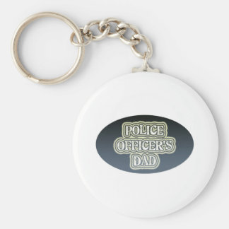 Police Officer's Dad Basic Round Button Keychain