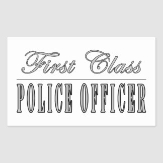 Police Officers : First Class Police Officer Rectangle Stickers