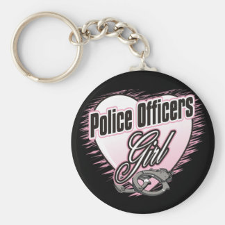 Police Officers Girl Basic Round Button Keychain
