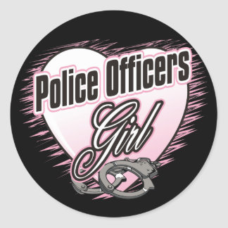 Police Officers Girl Classic Round Sticker
