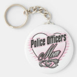 Police Officers Mom Basic Round Button Keychain