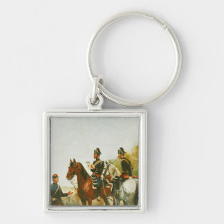 Police Officers on an Inspection Tour Silver-Colored Square Keychain