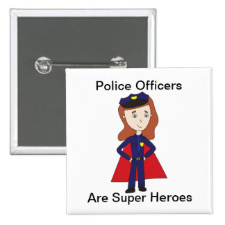 Police Officers Super Heroes (Female) 2 Inch Square Button