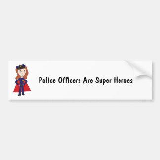 Police Officers Super Heroes (Female) Bumper Sticker