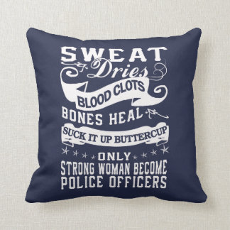 Police officers throw pillow