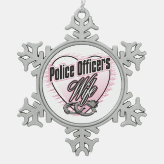 Police Officers Wife Snowflake Pewter Christmas Ornament