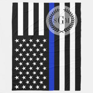 Police Patriotic Flag Monogram Fleece Blanket