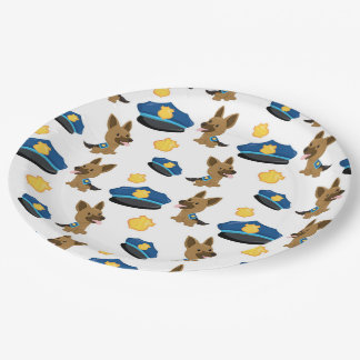 Police pattern paper plate
