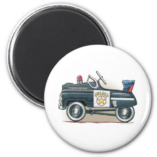 Police Pedal Car Cop Car Round Magnet