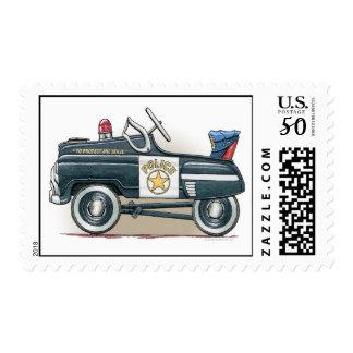 Police Pedal Car Kids Car Postage Stamp