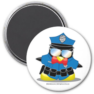 Police Penguin 3 Inch Round Magnet