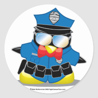 Police Penguin Classic Round Sticker