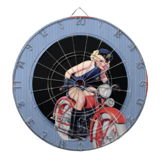 Police Pin up Girl on Motorcycle Dartboard With Darts
