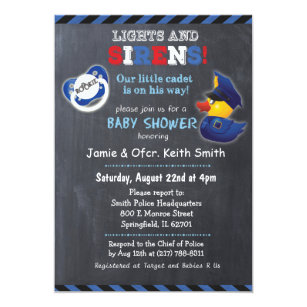 Police Baby Shower Invitations Announcements Zazzle