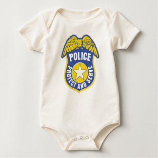 Police Protect and Serve Badge Baby Bodysuit