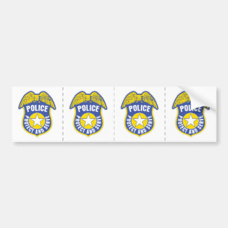 Police Protect and Serve Badge Bumper Sticker