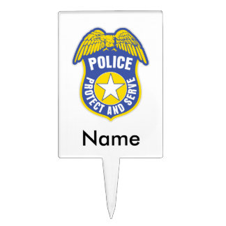 Police Protect and Serve Badge Cake Topper
