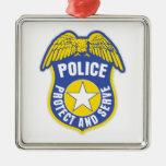 Police Protect and Serve Badge Christmas Ornament