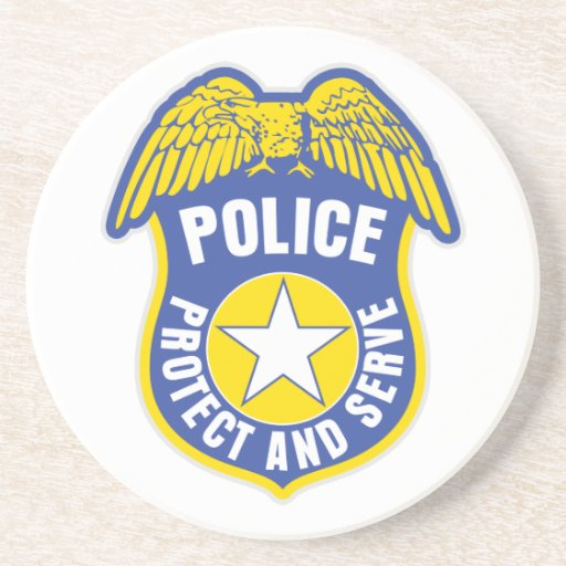 Police Protect and Serve Badge Drink Coaster