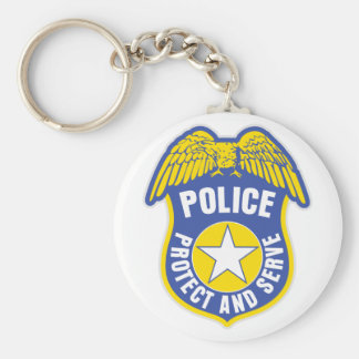 Police Protect and Serve Badge Keychains