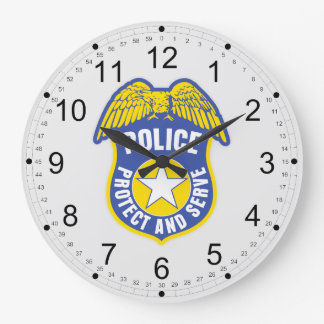 Police Protect and Serve Badge Large Clock