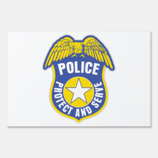 Police Protect and Serve Badge Lawn Sign