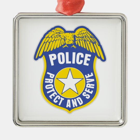 Police Protect and Serve Badge Metal Ornament