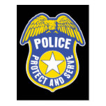 Police Protect and Serve Badge Post Card