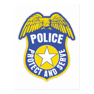 Police Protect and Serve Badge Postcard