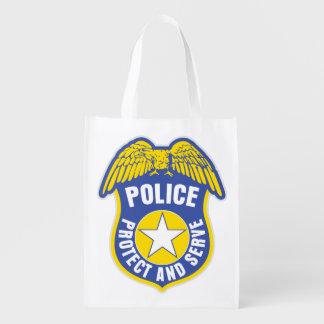 Police Protect and Serve Badge Reusable Grocery Bag