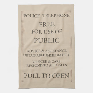 Police Public Call Phone Box Notice Kitchen Towel