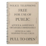 Police Public Call Phone Box Notice Spiral Notebooks