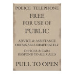 Police Public Call Phone Box Notice Poster