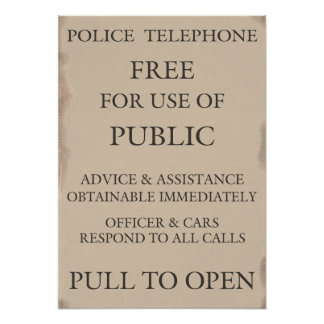 Police Public Call Phone Box Notice Posters