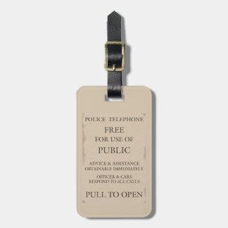 Police Public Call Phone Box Notice Travel Bag Tag
