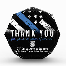 Police Retirement Anniversary Blue Line Flag Acrylic Award