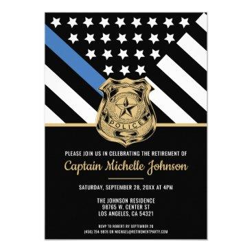 Police Retirement Blue Line Flag Law Enforcement Invitation