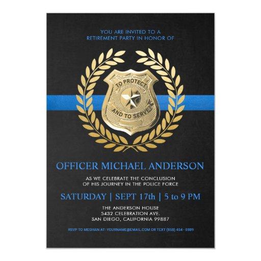 Police Retirement Invitations Police Badge