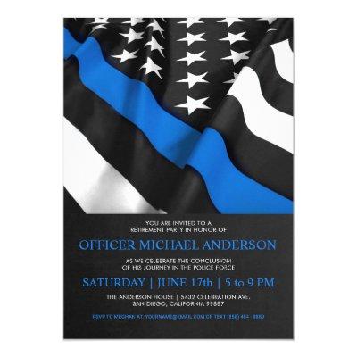 Thin Blue Line Police Academy Graduation Party Invitation Zazzle Com