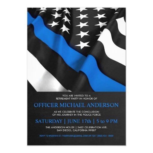 Police Retirement Invitations USA Flag
