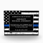"""Police Retirement Thin Blue Line Law Enforcement Acrylic Award<br><div class=""""desc"""">Celebrate and show your appreciation to an outstanding Police Officer with this Thin Blue Line Award - American flag design in Police Flag colors , distressed design. Personalize this police retirement award with officers name, text with law enforcement department name and community, and date of retirement. COPYRIGHT © 2020 Judy...</div>"""