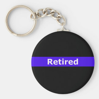 Police Retirted Thin Blue Line Basic Round Button Keychain