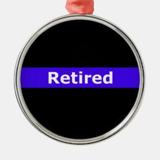 Police Retirted Thin Blue Line Metal Ornament