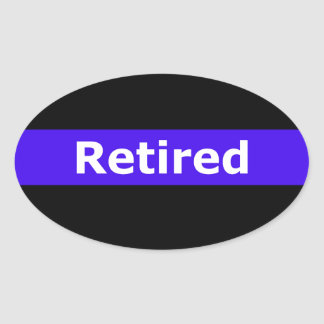 Police Retirted Thin Blue Line Oval Sticker
