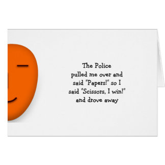 Police Rock Paper Scissors Funny Joke Quote Custom Card