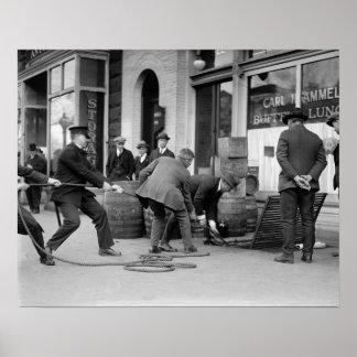 Police Seizing Bootleg Liquor, 1923. Vintage Photo Poster