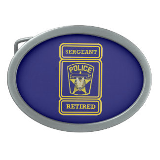 Police Sergeant Retired Badge Belt Buckle
