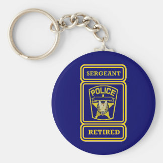 Police Sergeant Retired Badge Key Chains