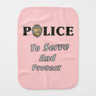 Police Serve and Protect Baby Burp Cloth